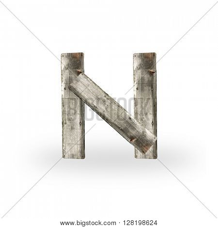 Wooden letter M on white