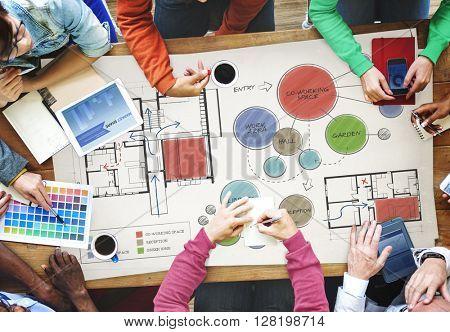 Office Floor Plan Sketch Drawing Concept