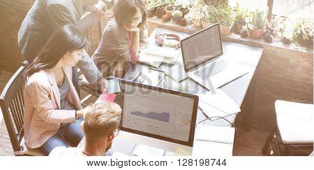 Business Team Discussion Data Marketing Statistics Concept