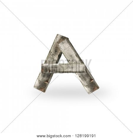 Wooden letter A on white