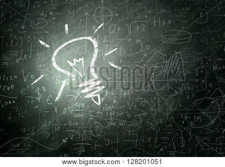 Bright idea on chalkboard