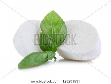 Tasty mozzarella with basil isolated on white