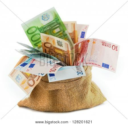Burlap sack filled with euro banknotes, isolated on white
