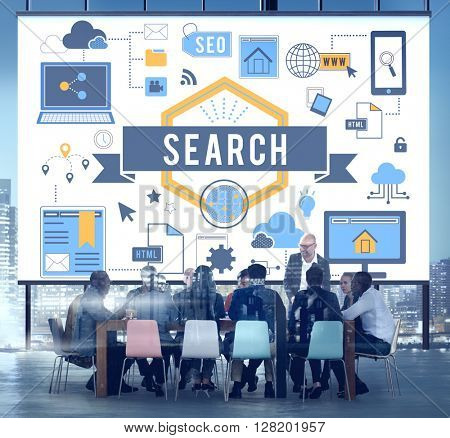 Search Technology Business People Meeting Concept