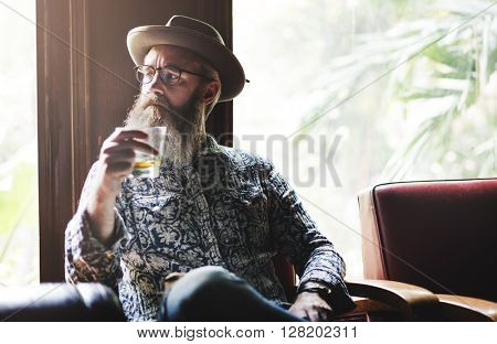 Senior Man Liquor Booze Alcohol Bar Drinking Concept