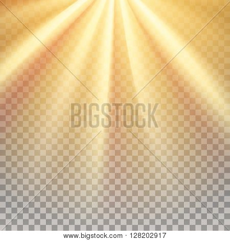 Yellow sun rays. Warm orange flare. Glaring effect with transparency. Abstract glowing light background. Ready to apply. Graphic element for documents, templates, posters, flyers. Vector illustration
