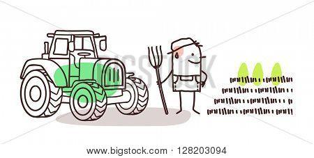 cartoon farmer - tractor