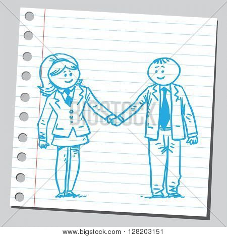 Businessman and businesswoman holding hands