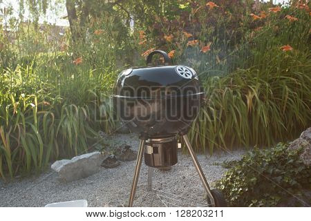 Hot BBQ grill standing on a nice sunny day