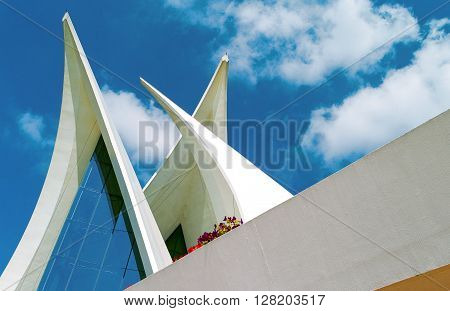 Dubai U.A.E. - February 13 2007: The architecture of the club house of the Creek Golf