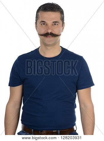Portrait of an adult man with mustache isolated on white background.