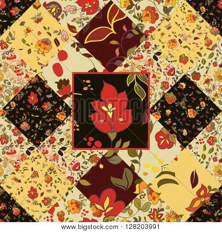 Creative seamless patchwork pattern with flowers. Vintage boho style
