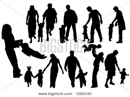 Silhouettes Of Parents With Baby, Vector