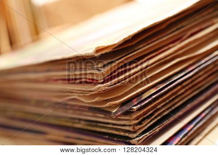 Vinyl records, closeup