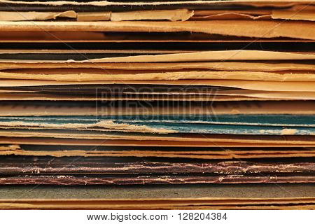 Stack of old vinyl records, close up