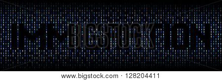 Immigration text on abstract people background illustration