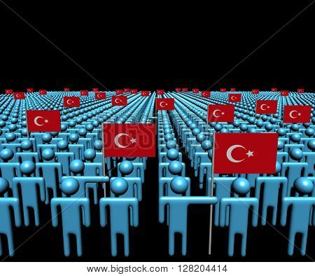 Crowd of abstract people with many Turkish flags 3d illustration