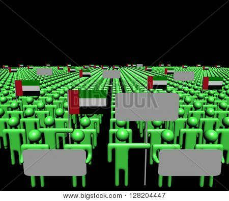 Crowd of people with signs and UAE flags 3d illustration