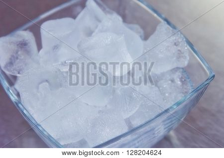 cubes ice in the glass