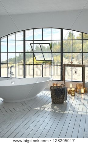 Large spacious bright white bathroom interior with a freestanding boat-shaped tub and large arched window overlooking coastal dunes with burning candles on the white parquet floor. 3d Rendering.
