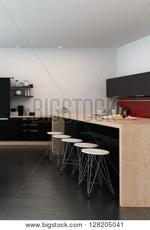 Modern bar counter in an open-plan kitchen with a wooden island counter and simple contemporary stools in a spacious black and white room. 3d Rendering.