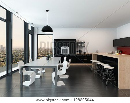 Modern open-plan kitchen and dining room interior decor with a molded dining suite, fitted appliances and cabinets, bar counter, and floor-to-ceiling windows overlooking the city. 3d Rendering.