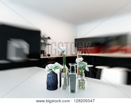 Dining table center piece with fresh white flowers in assorted elegant jars and bottles with a surrounding blur vignette. 3d rendering