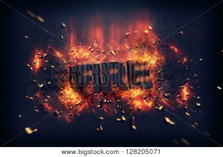 Burning orange fiery flames and explosive sparks on a dark background with the word - Fire - in black text for a dramatic poster design