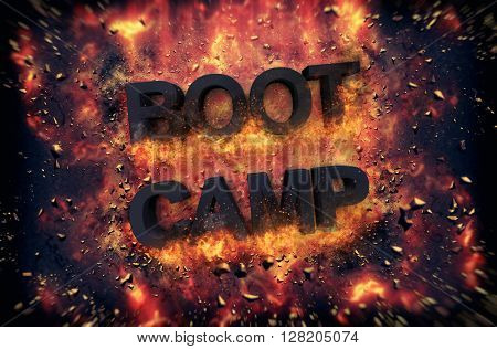 Burning orange fiery flames and explosive sparks on a dark background with the word - BOOT CAMP - in black text for a dramatic poster design