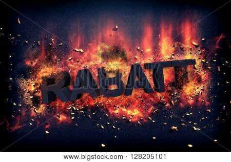 Burning embers and exploding flames surrounding the rabatt word over black background