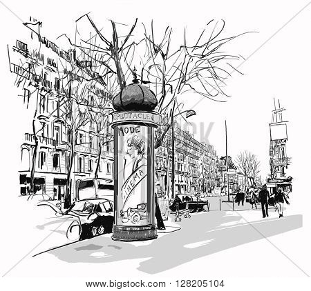 Boulevard in Paris - vector illustration