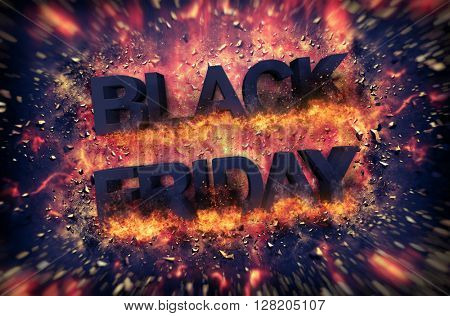 Black Friday Thanksgiving Christmas holiday exploding sign with embers as full frame background