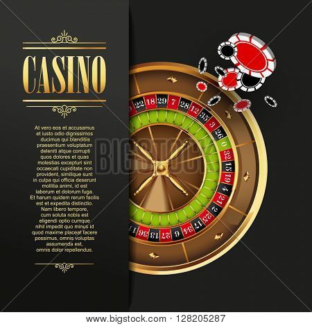 Casino background. Vector  illustration. Gambling template. Game design with roulette wheel and poker chips.