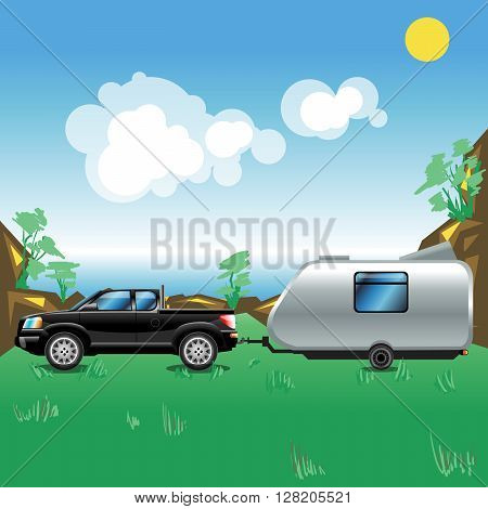 Camping pickup trailer on a meadow near a sea. Some hills with trees growing on. Summer sunny sky with white clouds. Beautiful seascape illustration. Digital vector image.