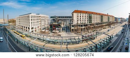 DRESDEN, GERMANY - APRIL 05,2016: Panorama of  street of Dresden.