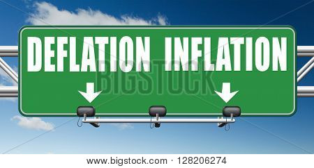 inflation deflation bank crisis or financial and economic recession or stock market crash or rise road sign arrow