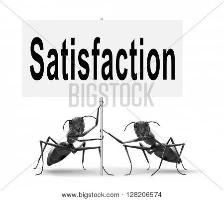 Satisfaction customer service, 100% satisfied guaranteed, road sign billboard.