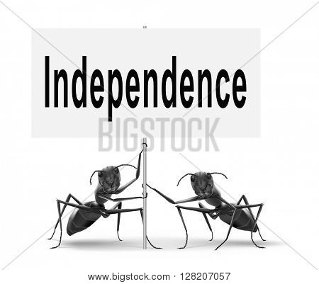 Independence independent life for the elderly disabled or young people, road sign billboard.