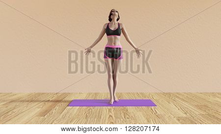 Yoga Class Breathing Pose Illustration with Female Instructor  3D Illustration Render