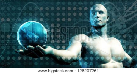 Visual Concept of Virtual Business with Man Holding Globe 3D Illustration Render