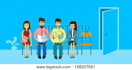 Asian Business People Group Sitting In Line Queue Door Asia Businesspeople Flat Vector Illustration