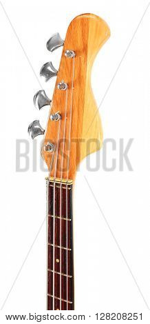 Wooden head stock with tuning pegs, isolated on white