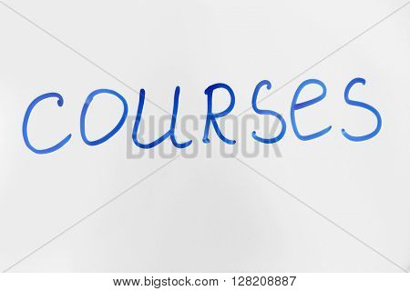 Word Courses written on the flipchart