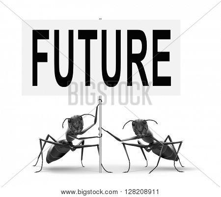 Future vision futuristic, road sign billboard.