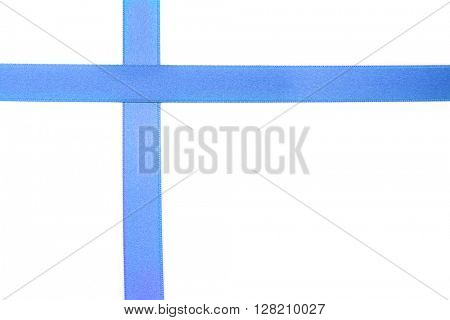 Blue satin ribbon isolated on white