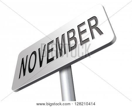 November fall or autumn month or event calendar, road sign billboard.