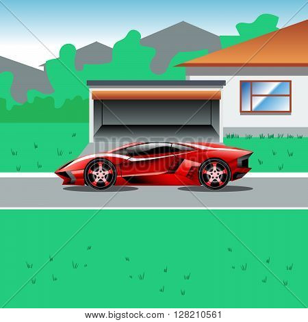 Red luxury sport car parked beside a house with a garage. Suburban house landscape view. Advertising campaign illustration for a sport car. Beautiful life flyer. Digital vector illustration.