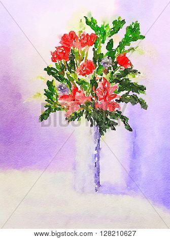 Nice original painting Of a vase of flowers