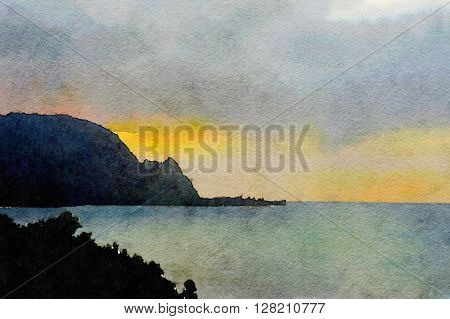 Nice watercolor of the Napali coast at sunset