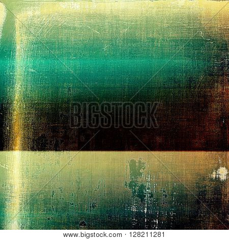 Antique texture, weathered background with vintage look and different color patterns: yellow (beige); brown; green; blue; black; cyan